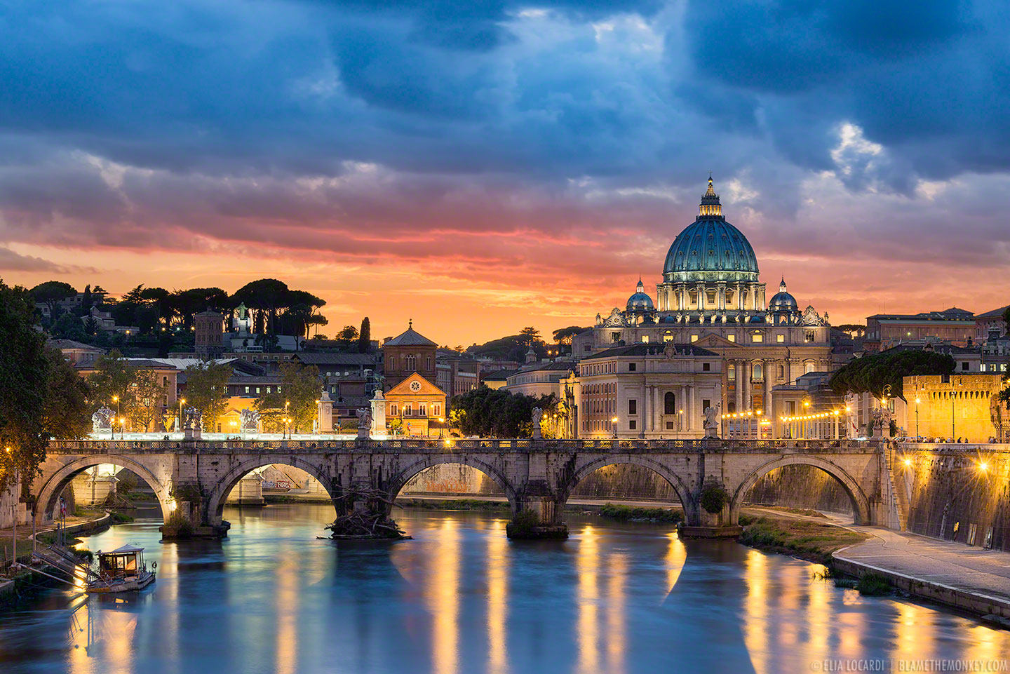 An incredible sunset etches St Peter's Basilica and the Vatican with a warm golden glow. Rome, Italy